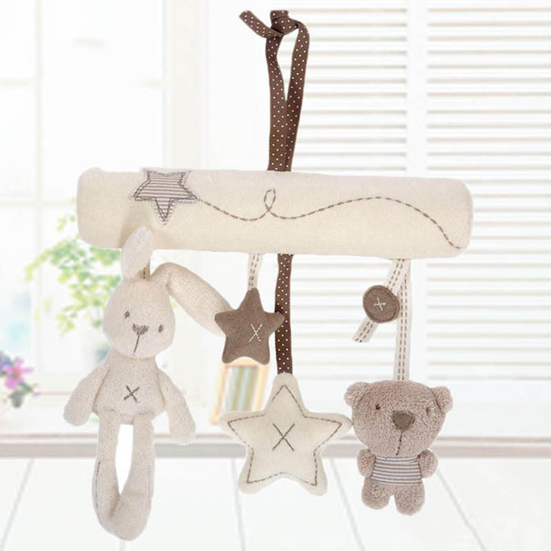 Newborn Baby Pram Handbell Bed Stroller Soft Hanging Toy Animal Rattles Infant Pacifying Toys NSV775
