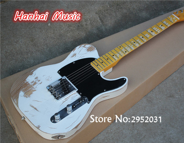 Hot Sale Custom Electric Guitar White Color Ash Wood Body In Old