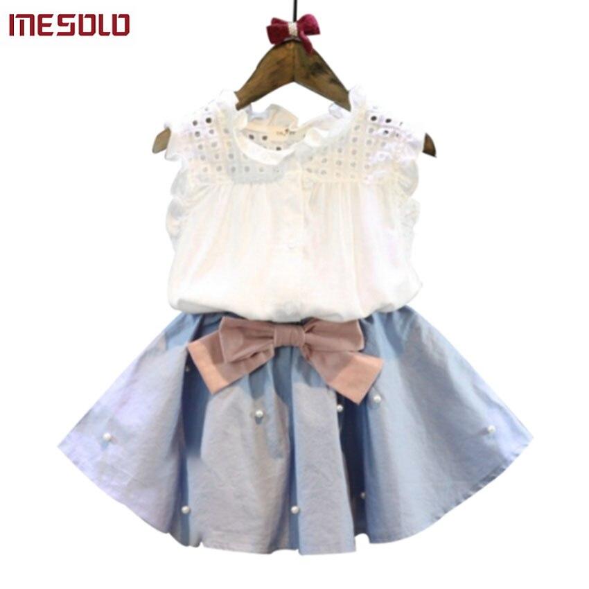 Одежда для детей 2 до 8 лет для Обувь для девочек, юбка с бантом и кружевной топ летний костюм корейский стиль Детская одежда Наборы для ухода ...