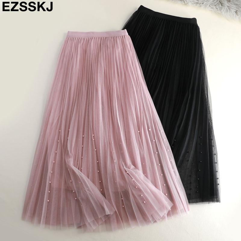 2019 Spring Summer Tulle Skirt Women Pleated Tutu Skirt Beading A-line Mesh Midi Skirt Female Three-layer Long Elegant Skirt