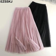 Весенне-летняя юбка из тюля, Женская плиссированная юбка-пачка, расшитая бисером, а-силуэт, сетчатая юбка средней длины, Женская трехслойная Длинная элегантная юбка