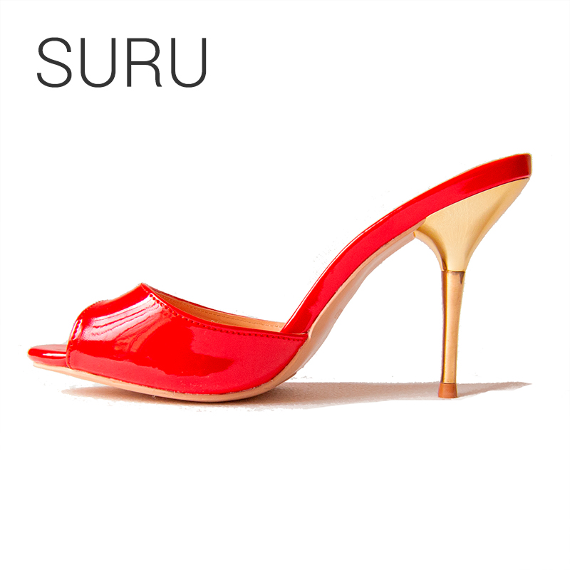 SURU 95 Red Patent Leather Sandals Women Open Toe Metal High Heels Slippers Shoes Size 35-40  Custom Big Size 41 42 43 44 45 46