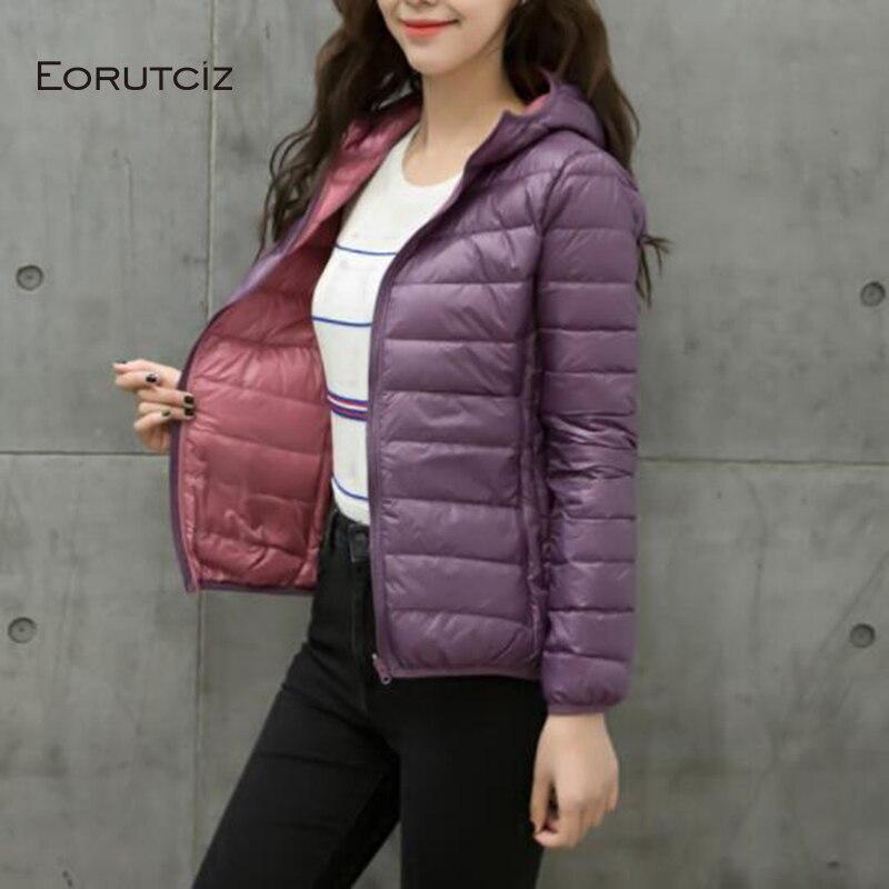 EORUTCI Winter Plus Size 4XL Down Coat Women  Ultra Light Jacket Slim Double Sided  Vintage Black Autumn Short Coat LM367