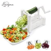 LMETJMA Veggie Spiralizer Vegetable Slicer With 3 Stainless Steel Blades Manual Vegetable Spiral Slicer Grater Tools LK0915A