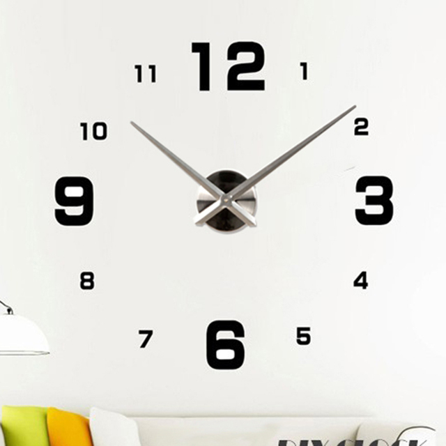 Diy Large Frameless Wall Clock Modern Design Home Decoration Numbers Stickers Adhesive Wallpaper 12s005