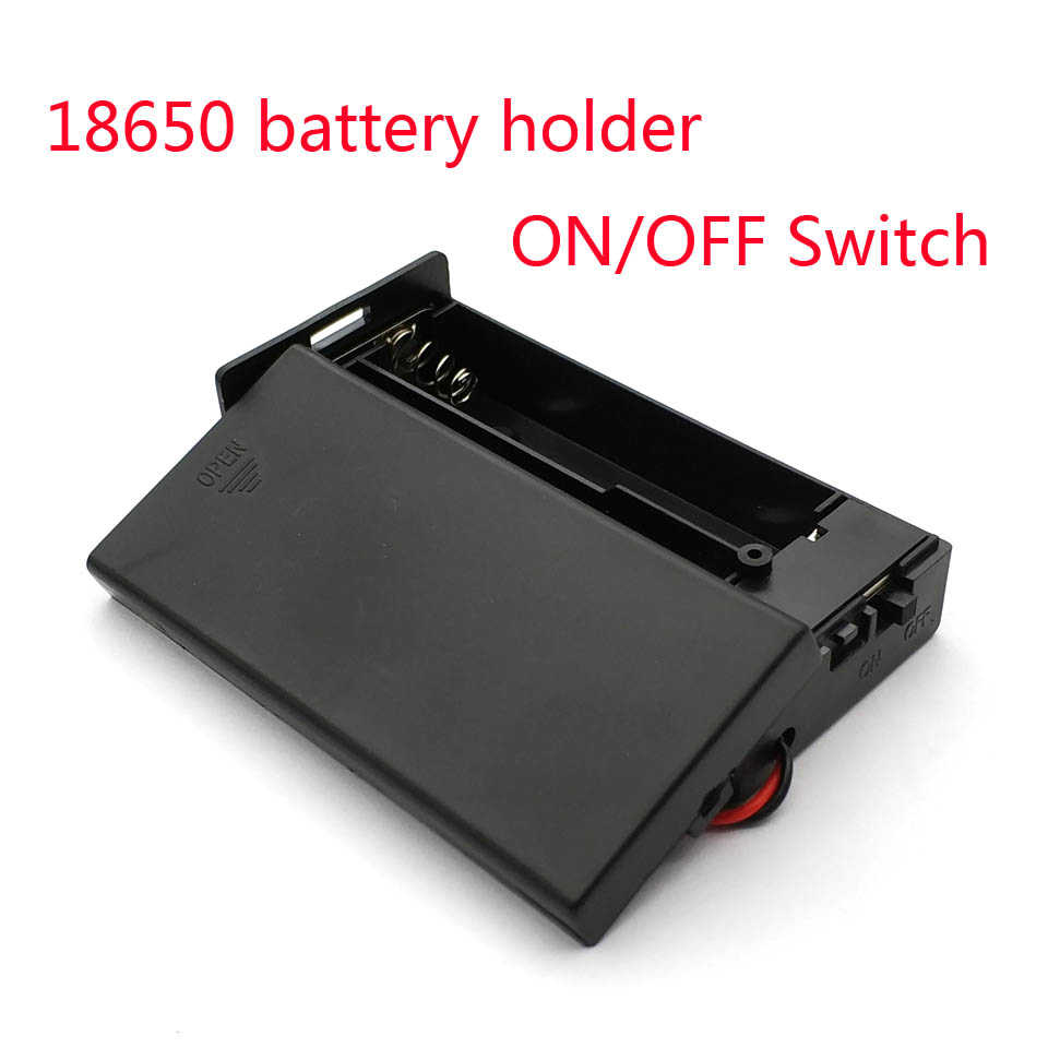 New Black Plastic 18650 Battery Storage Case 3.7V For 2x18650 Batteries Holder Box Container With 2 Slots ON/OFF Switch