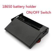 Caixa de armazenamento para bateria, caixa preta de plástico 18650 3.7v para 2x18650 pilhas segurador caixa com 2 espaços interruptor liga/desliga