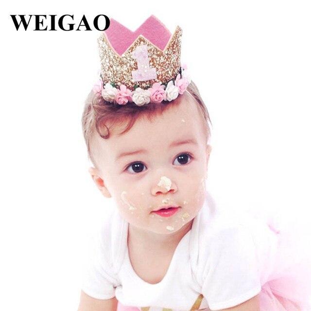 9d94ff39708 WEIGAO 1Pcs one 1 2 3 Birthday Glitter Rose Flower Crown Baby Birthday  Headband Baby Shower 1st Birthday Party Decoration Kids