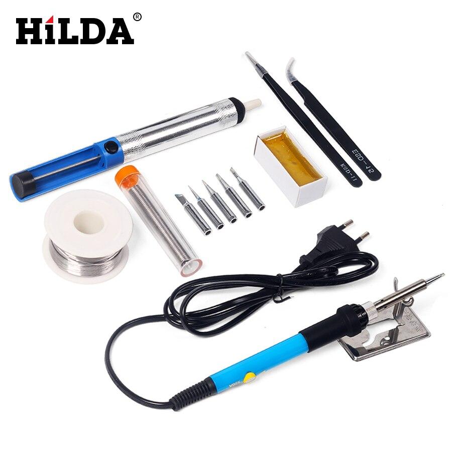 HILDA 220V 60W Electrical Soldering Iron Adjustable Temperature Soldering Gun Welding Rework Repair Tool Kit