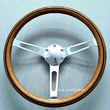 Top qualidade da madeira com linha preta 38 cm universal de madeira clássico do vintage ônibus car racing wheel steering com chifre botão feitas à mão