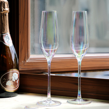European Rainbow  Lead-free Crystal Champagne Cup Goblet wine glass Bubble cup colored goblets Party Family Drinkware