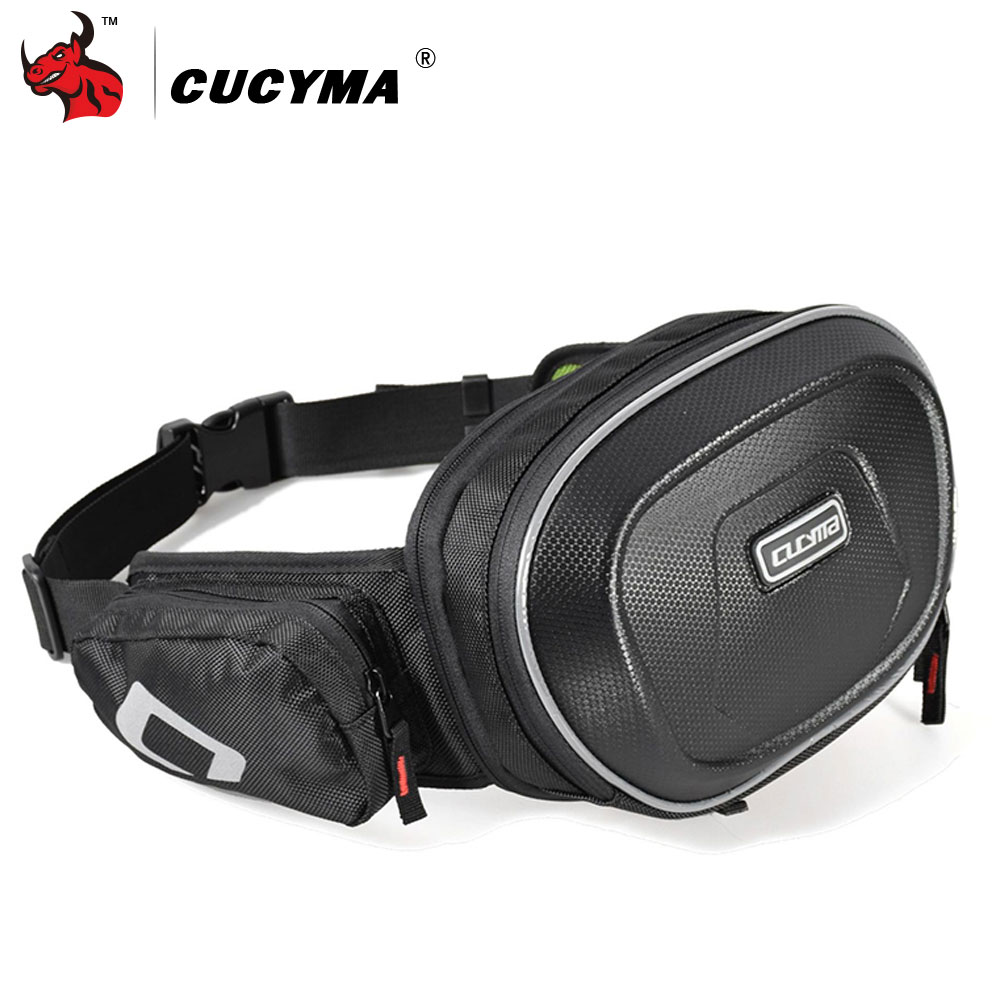 1x Universal Motorcycle Black Waist Bag Faux Leather Adjusted Length Zipper Top