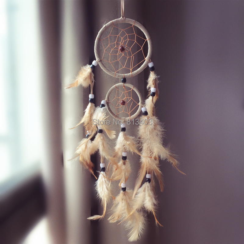 Two Rings Handmade Feather Dream Catcher Home Hangings Car Decorations Free Shipping Cheap Dreamcatchers