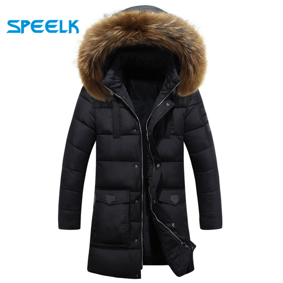 Winter Jackets Parka Men Windbreaker Large Fur Collar Coat Mens Mid-long Thickening Jacket Male Autumn Winter Warm Outwear