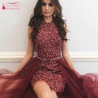 Burgundy Sequined Homecoming Dresses With Detachable Train Graduation Gowns Knee Length Beaded Rhinestones Formal Dress DQG958