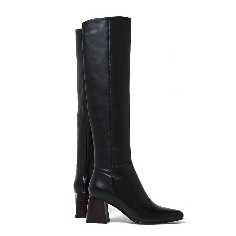 Chaussures Pu Cuir De Bottes En Talons Black Garder Hiver Femmes Épais Au Chaud Zipper Masgulahe Haute Genou Résistance Véritable Dérapage awfqag