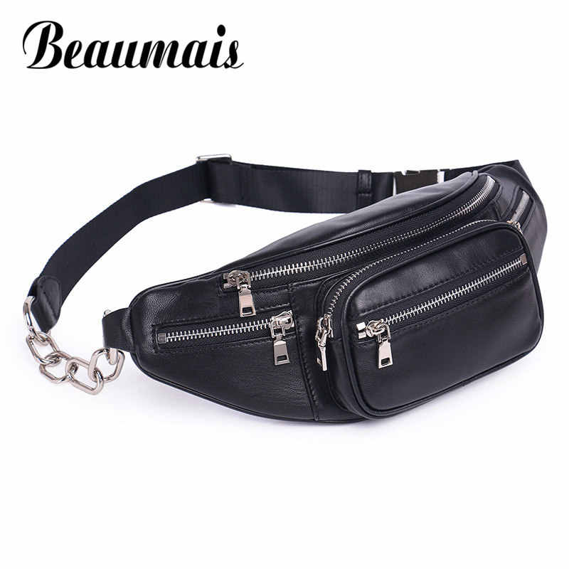 Beaumais Genuine Leather Waist Bag Women Pack Funny Belt Men Chain For Phone Df0301