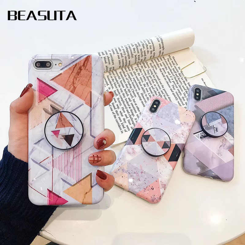 check out 48ceb f2cc2 Grip Stand Phone Holder Case For iPhone XS MAX X XR 8 7 6 6S Marble Airbag  Bracket For iPhone 8 Plus Silicone Soft Cover