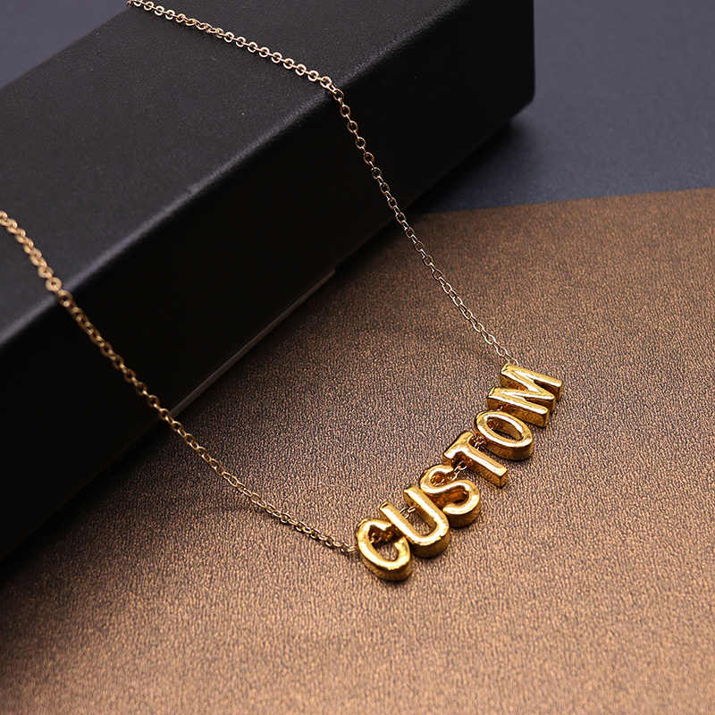 26 Letters Women Simple Name Necklace Select Custom Charm Pendant Necklace  Lovers Gift Gold Color Initial Choker