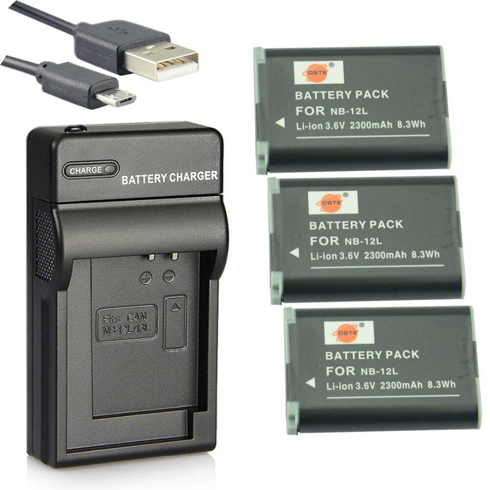 DSTE 3PCS NB-12L Li-ion Battery + UDC161 USB Port Charger for Canon LEGRIA mini X PowerShot N100 G1 X Mark II Camera