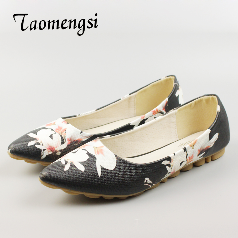 Woman PU Leather Footwear Women's Casual Soft Boat Flats Shoes Pointed Toe Print Flower Elegant Plus Size Shoes For Women 34-43 woman pu leather footwear women s casual soft boat flats shoes pointed toe print flower elegant plus size shoes for women 34 43