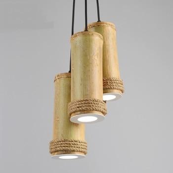 Bamboo tube LED pendant lights retro personality restaurant home lighting decorative jewelry 1/3 heads pendant lamps-ZA zb15