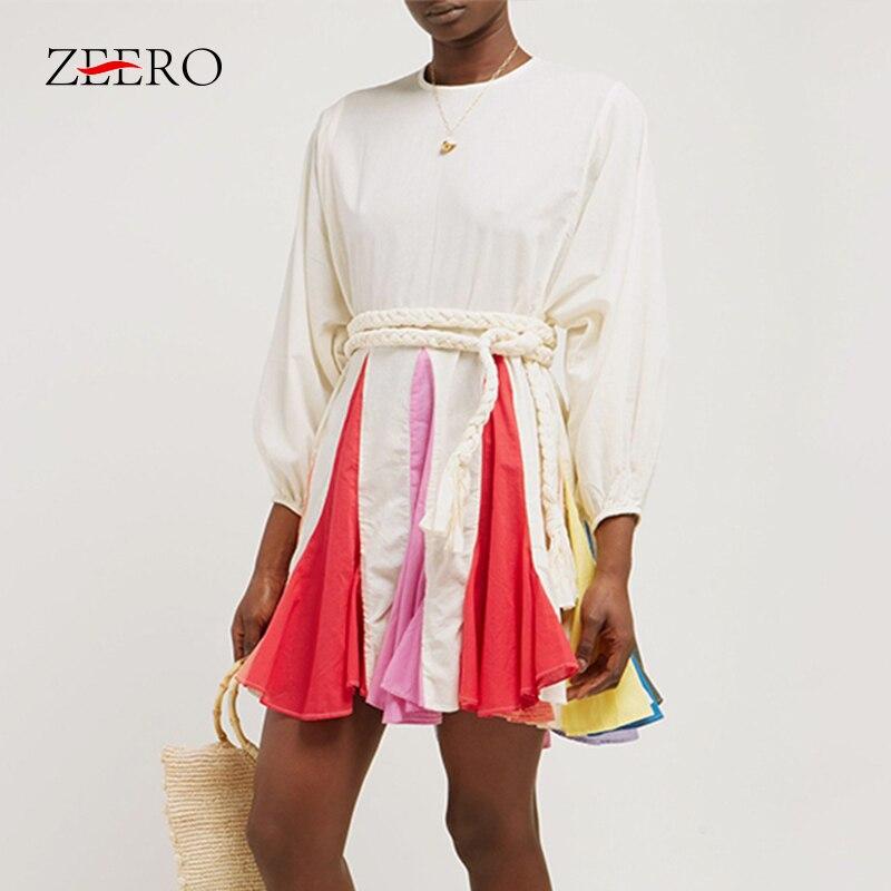 New Women Dress Summer Hit Color Patchwork O Neck Puff Sleeve Bandage Mini Dresses Elegant Female