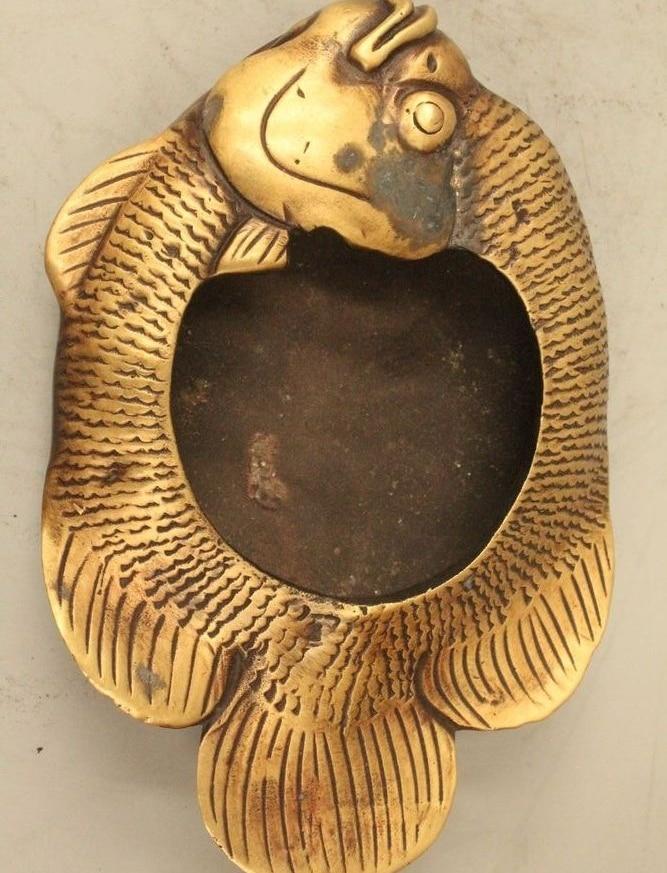 """7"""" China Chinese Palace Folk Purple Bronze cyprinoid ashtray Bowl censer Statue"""