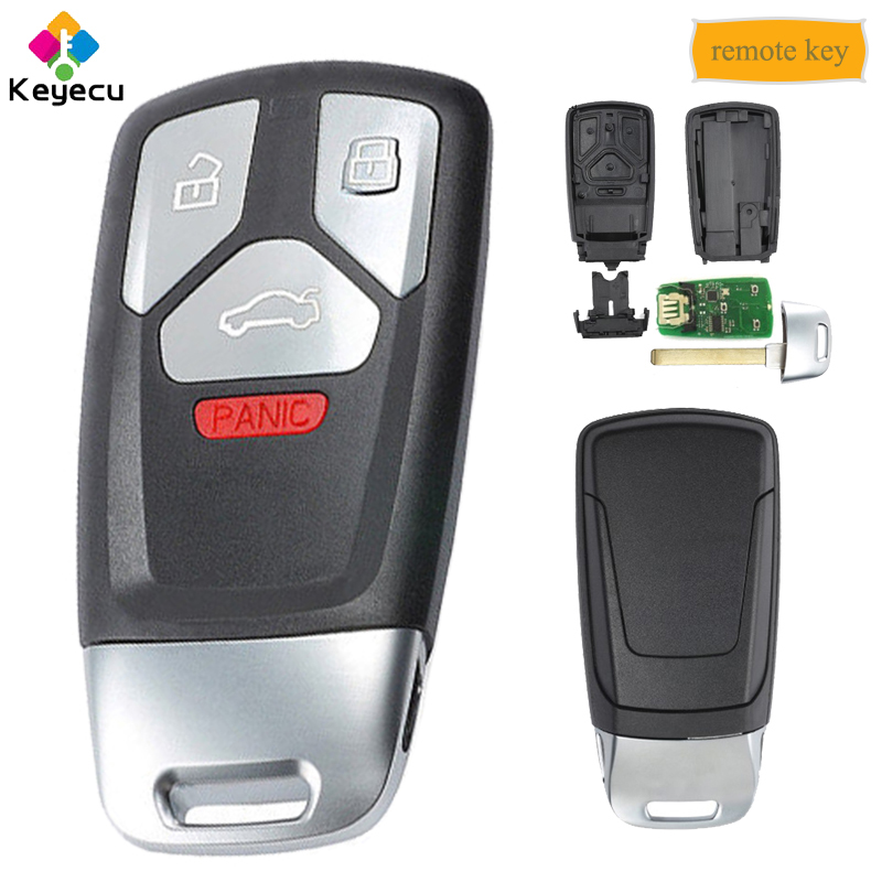 KEYECU 315MHz 433MHz Keyless Entry Smart Remote Key With 4 Button FOB for Audi A4 A5