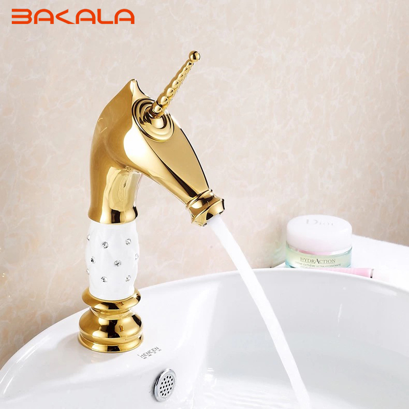 Фото BAKALA Gold Bathroom horse head Faucets Brass ceramic&Diamond body Deck Mounted Bathroom Faucet Single Handle Mixer Tap B-1006M