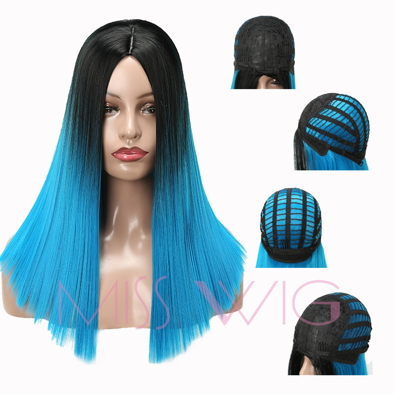 MISS WIG 20Inch Long Straight Wigs Blue Color Synthetic Hair Wigs For Women Weight 250g High Temperature Fiber