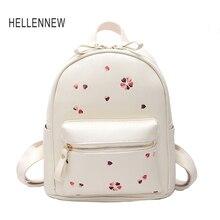 Hellennew 2017 с цветочным принтом женские кожаные рюкзак модные дамы Школьный для подростков девочек Женский backbag Mochila 618