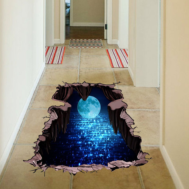 NEW 3d Cosmic Space Wall Sticker Floor Sticker Galaxy Star Home Decoration  For Kids Room Living
