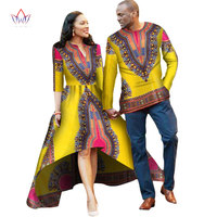 Autumn New Designs Married Couple for Lovers African Dress Women Mrs Men Shirt Long Sleeve 2016 Couple Dashiki Dress WYQ05