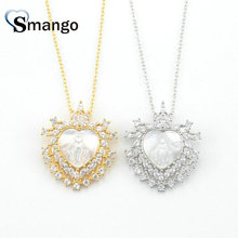 Women CZ Pendant Necklace, Fashion Jewelry, The Hollow Out  Heart Shape, 2 Plating Colors,Can Wholesale,5Pcs