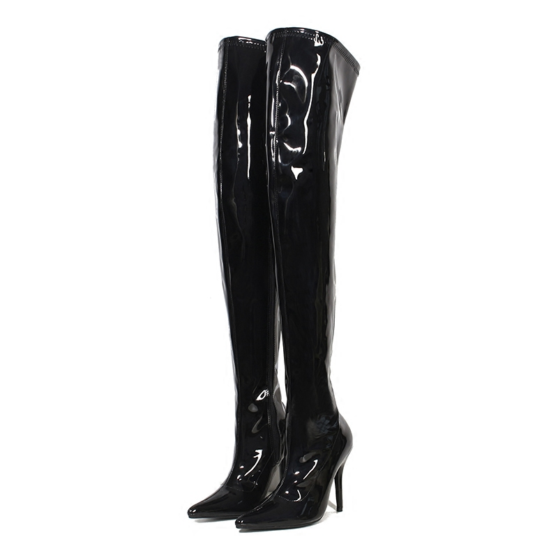 Boots Women Shoes High Heels Sexy Thigh Boots Glossy Leather Fashion Zipper Over The Knee Boots Fenty Beauty Ladies Winter Boot
