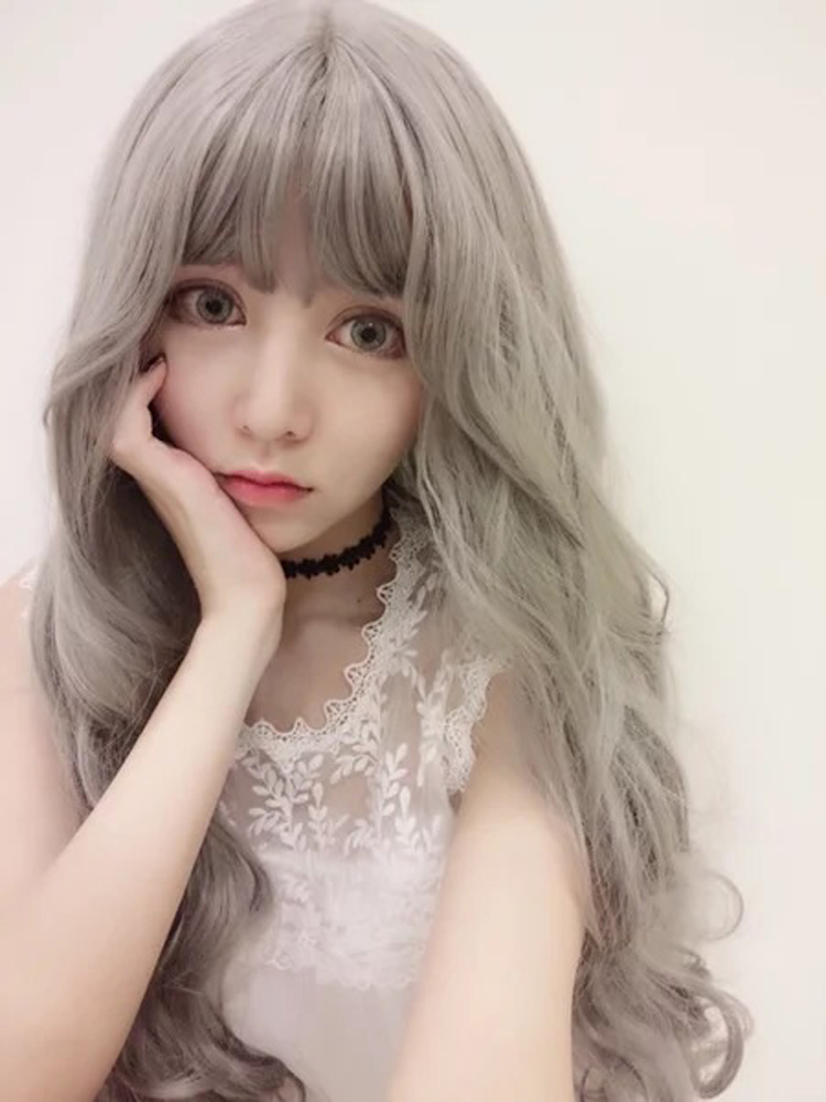 New Stylish Gray Long Wavy Wig Lady Glamorous Cosplay