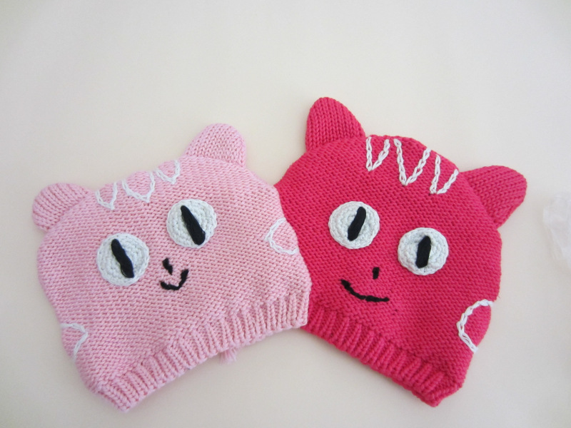 Full Cotton Newborn Baby Beanie Baby Girl Cap Cat Shape Crochet Baby Hats Red Pink Color Toddler Hat Newborn Photo Props 0-3Y