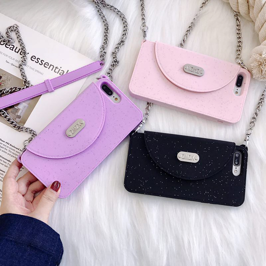Ritozcase Newest Luxury Fashion Women's wallet Soft Silicone Phone Case Cover For iPhone X 6 6S Plus 7 8 plus With long Chain