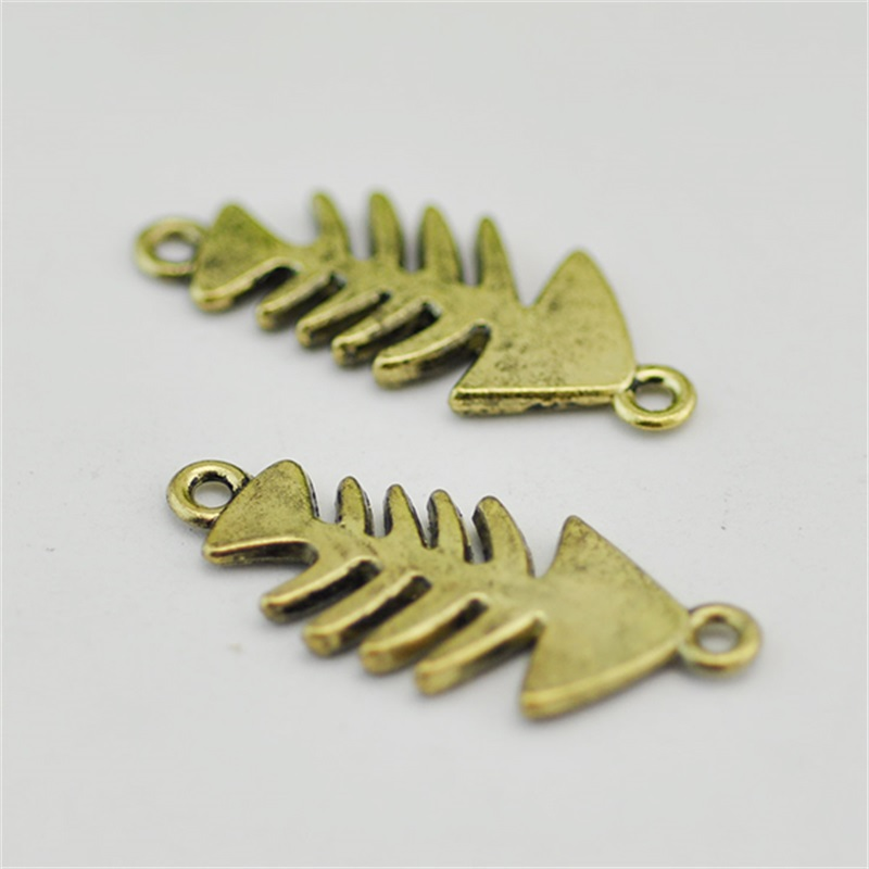 20 pcs Fish bone Charm Link Antique bronze Connector Handmade Jewelry Finding double loop component