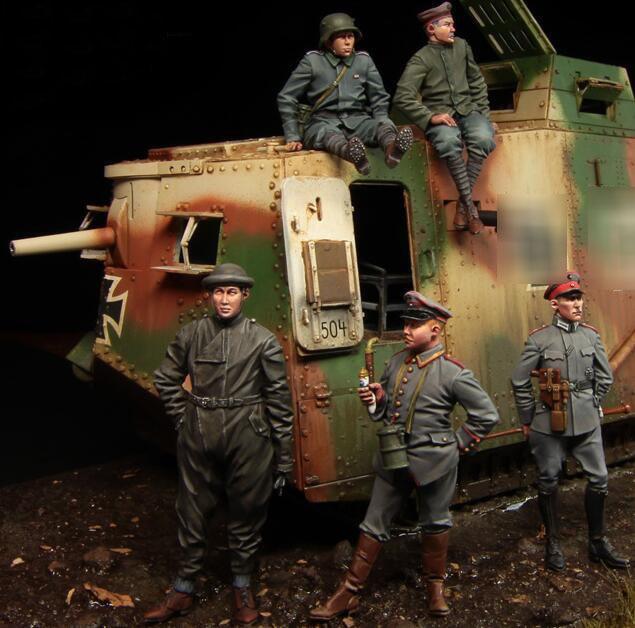 1/35 Resin Figure WWI German Tank Soldiers Model Kits