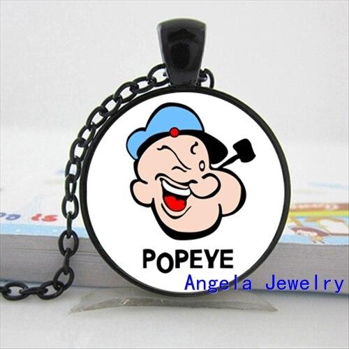 NS-00460 New Fashion Popeye Pendant Sailor Man Necklace Cartoon Jewelry Glass Cabochon Necklace Pendant HZ1