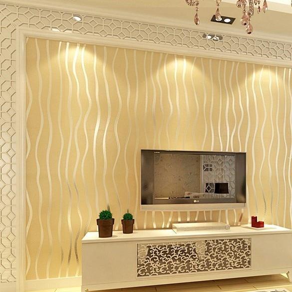 4 rolls lot 3d wavy stripes flocking wallpaper modern for Minimalist living bedroom