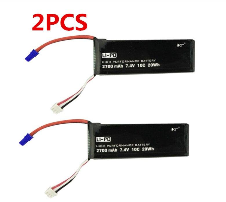 BLL 2 PCS D'origine Hubsan H501S X4 RC Quadcopter Pièces De Rechange 7.4 V 2700 mAh 10C Batterie Rechargeable H501S-14