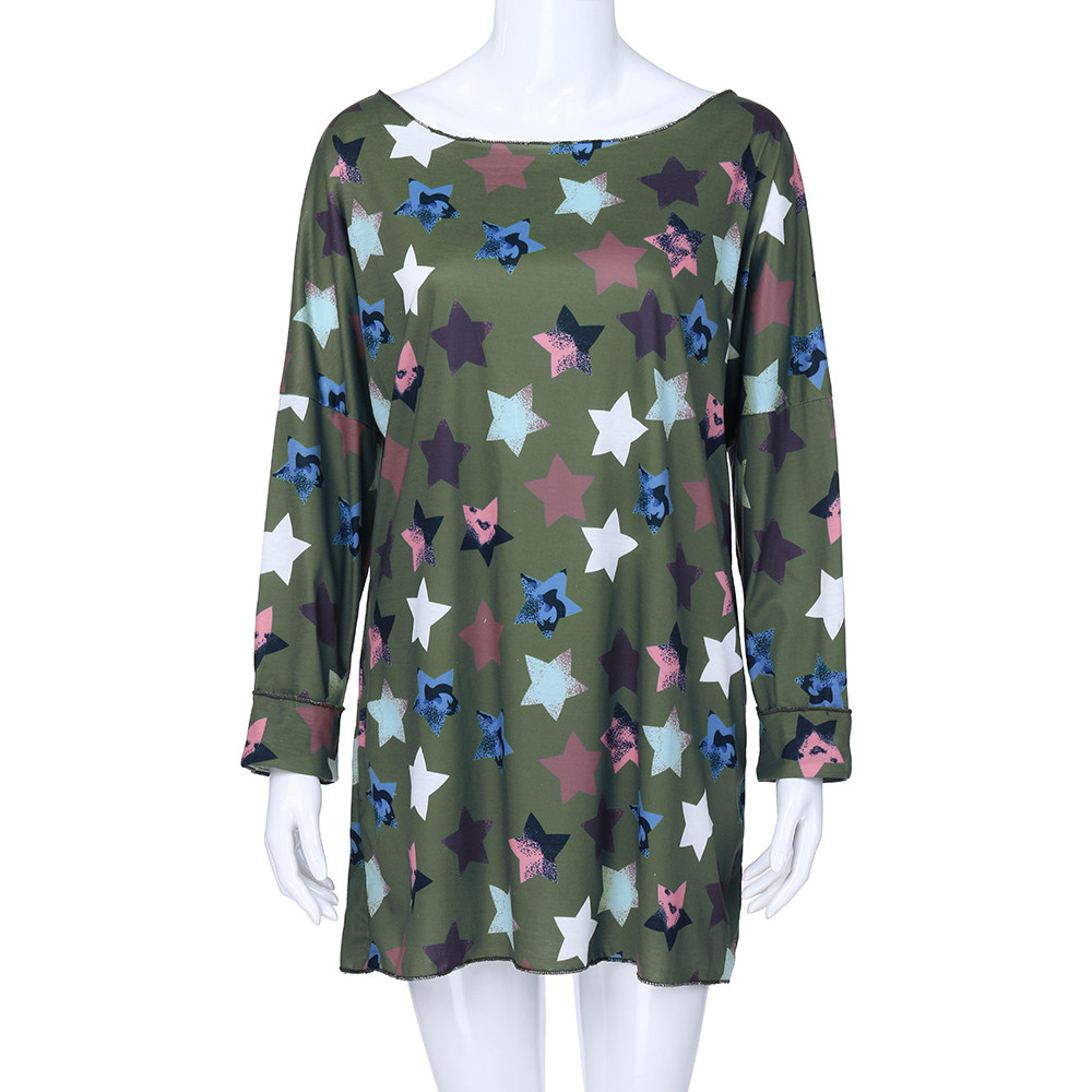 Feitong Women Plus Size Women T Shirt Five-pointed Star Printing Long Sleeve O Neck Pullover Tops Shirt camisetas mujer verano