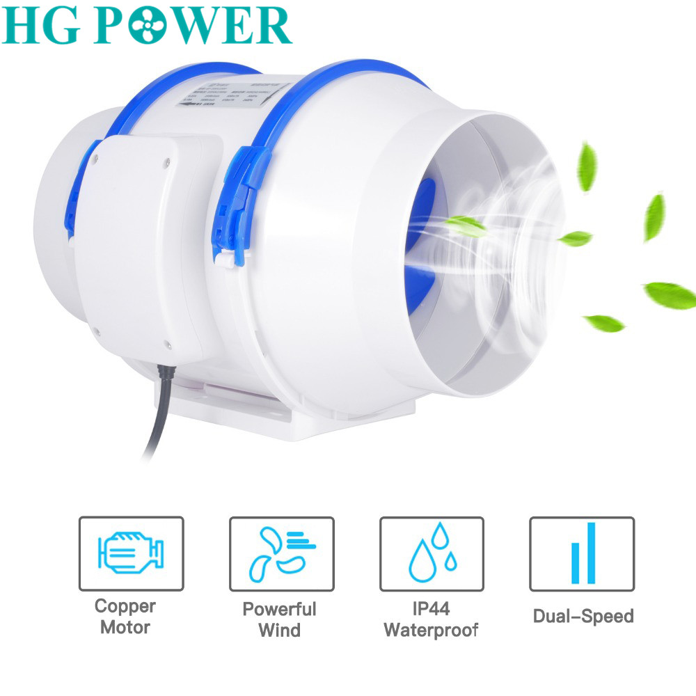 6inch inline duct fan strong air ventilator ABS pipe ventilation exhaust dual speed system bathroom wall window 220V