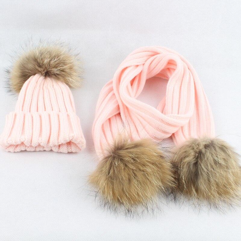 Children  Acrylic Scarves And Hats Sets 15CM Raccoon Fur Pom Pom  LF4080