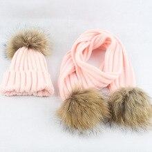 Children  Acrylic Scarves and Hat Sets 15CM Raccoon Fur Pom Pom Hat Female Winter Warm Caps Fashion Headgear LF4080