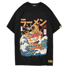 Kawaii Clothing Ropa Harajuku Japanese Ramen T-shirt Noodles Kanagawa Wave Bowl Funny Casual Short Sleeve T Shirts