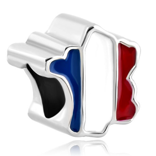 free shipping  enamel  France Flag Country Of France Map Lucky Charm Fits European  Charm Bracelets A076
